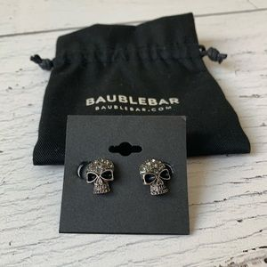 BaubleBar - Crystal covered silver skull earrings